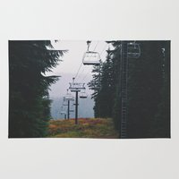 ski Area & Throw Rugs featuring Ski Lift by Hannah Kemp