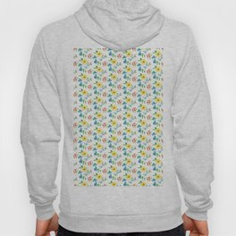 Hand painted pink yellow teal watercolor flowers Hoody