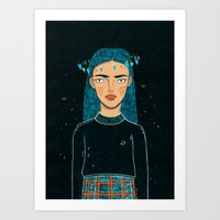 hologram Art Prints featuring In A Hologram With You by a thousand daisies