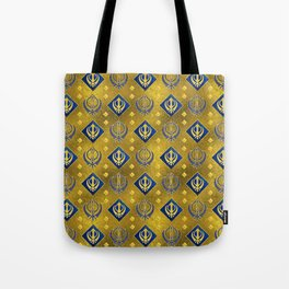 Gold and Lapis Lazuli Khanda symbol pattern Tote Bag