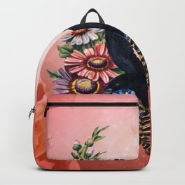 Wonderful crow with flowers Backpack