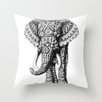 ornate elephant Throw Pillows featuring Navajo Elephant by BIOWORKZ