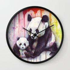 Pandas and Rainbow Watercolor Mom and Baby Panda Nursery Animals Wall Clock
