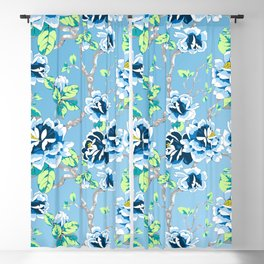 Chinoiserie Ming style Blue Floral Pattern Blackout Curtain