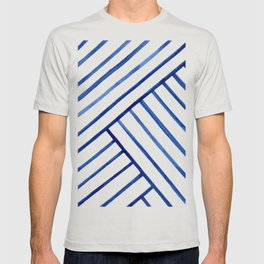 Watercolor lines pattern | Navy blue T-shirt