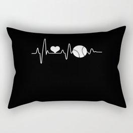 Heartbeat Heart Pulse Frequency Baseball Rectangular Pillow