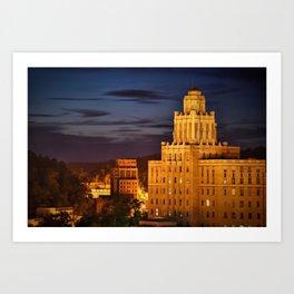 Hot Springs Arkansas Skyline and Old Army Navy Hospital at Dusk Art Print
