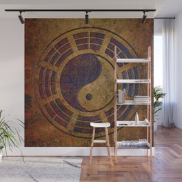 Purple Yin Yang Sign on Granite Wall Mural