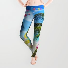 Tropical Beach and Exotic Plumeria Flowers Leggings