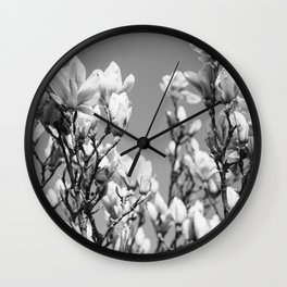 Black and White Magnolia Wall Clock