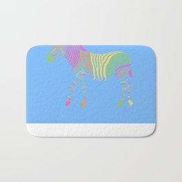 Zebra 6B Blue Background Bath Mat