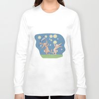 fireflies Long Sleeve T-shirts featuring Bunnies Catching Fireflies by Meant for a Moment Designs