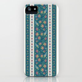 Floral on Teal iPhone Case