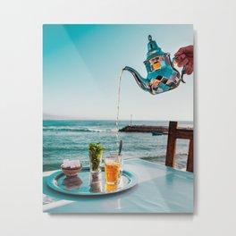 Moroccan Tea and the Ocean Metal Print