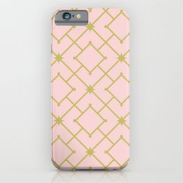 Pastel Pink Stars and Squares Lattice Art Print iPhone Case
