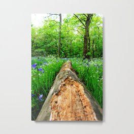 Log Through The Flowers Metal Print