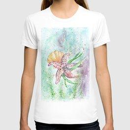 Starfish Watercolor Art Illustration T-shirt