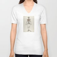 smoking V-neck T-shirts featuring Skeletons Smoking by Marko Köppe