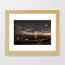 Milky way and the Twin lights Framed Art Print