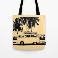 volkswagon Tote Bags featuring Vintage Beach Van  by kishbish