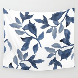 Indigo Leaves Watercolour painting Wall Tapestry