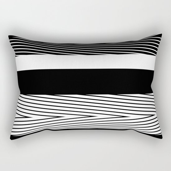 Black and white abstract striped pattern th striped Rectangular Pillow