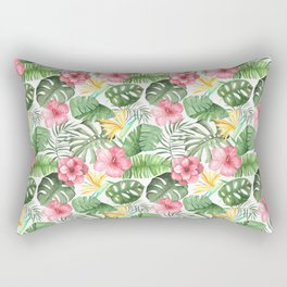 Tropical Pink, Yellow, Green Leaves and Flowers Rectangular Pillow