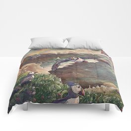 Cliffside Puffins Comforters