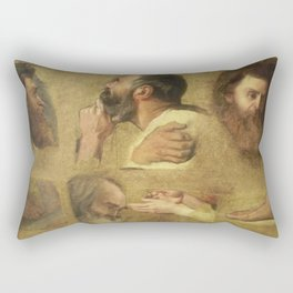 Jean-Auguste-Dominique Ingres - Studies for Jesus among the Doctors Rectangular Pillow