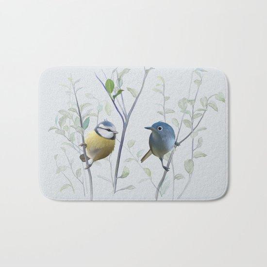 2 birds in tree Bath Mat
