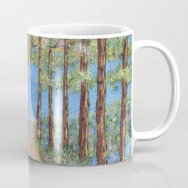Landscape Trees Art, Impressionism Scenic Lake, Forest Woods Coffee Mug