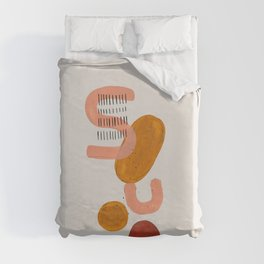 'Alphabet' Earth Tones Neural Warm Colors Fun Space Shapes Yellow Ochre Tan Brown by Ejaaz Haniff Duvet Cover