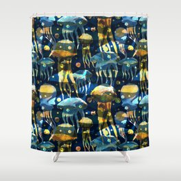 Underwater life. Jellyfish. Hand drawn illustration. Watercolor seamless pattern. Shower Curtain