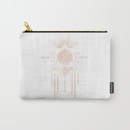 Mandala Flower of Life Moon Pink Rose Gold Carry-All Pouch
