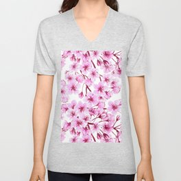 Cherry blossom pattern Unisex V-Neck