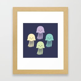 Cute colorful jellyfishes Framed Art Print