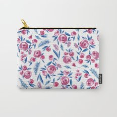 Blue & Magenta Flowers Carry-All Pouch