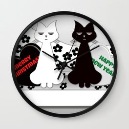 Black and White Cats on Sofa Christmas Wall Clock