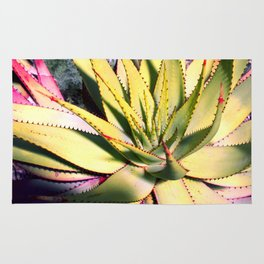 Cactus in neon colour pop photograhy no.9 Rug