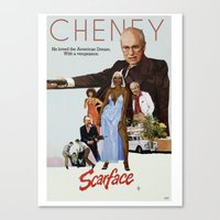 scarface Canvas Prints featuring Cheney Scarface by vipez