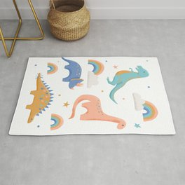 Dinosaurs + Rainbows in Blush Pink + Gold + Blue Rug