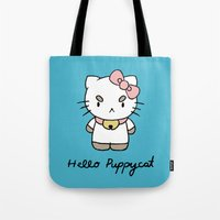bee and puppycat Tote Bags featuring Hello Puppycat by Nate Galbraith