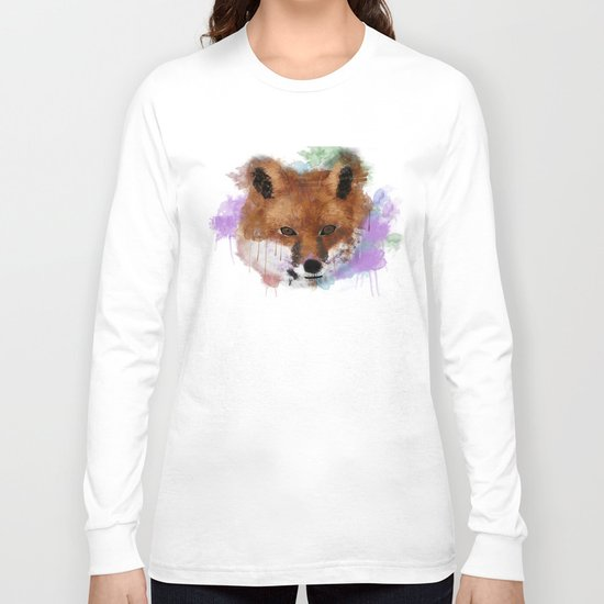 Fox Face Watercolor Long Sleeve T-shirt