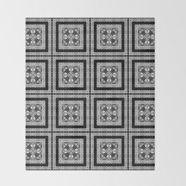 Black and white ornament Throw Blanket