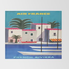 Vintage poster - French Riviera Throw Blanket