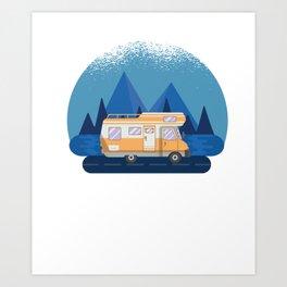 Motorhome Camper  RV Camper Camping Moon Art Print