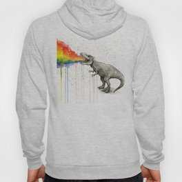 T-Rex Dinosaur Vomits Rainbow Hoodie