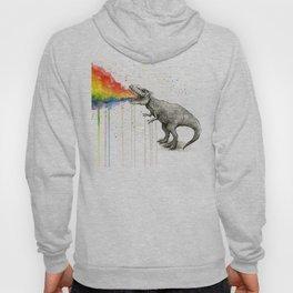 T-Rex Dinosaur Vomits Rainbow Hoody