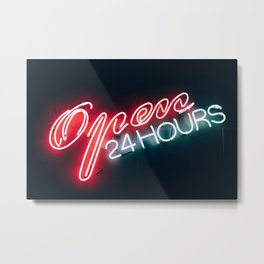 Open 24h Neon Sign Metal Print