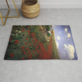 Poppies in Field Landscape by Pal Szinyei-Merse Rug